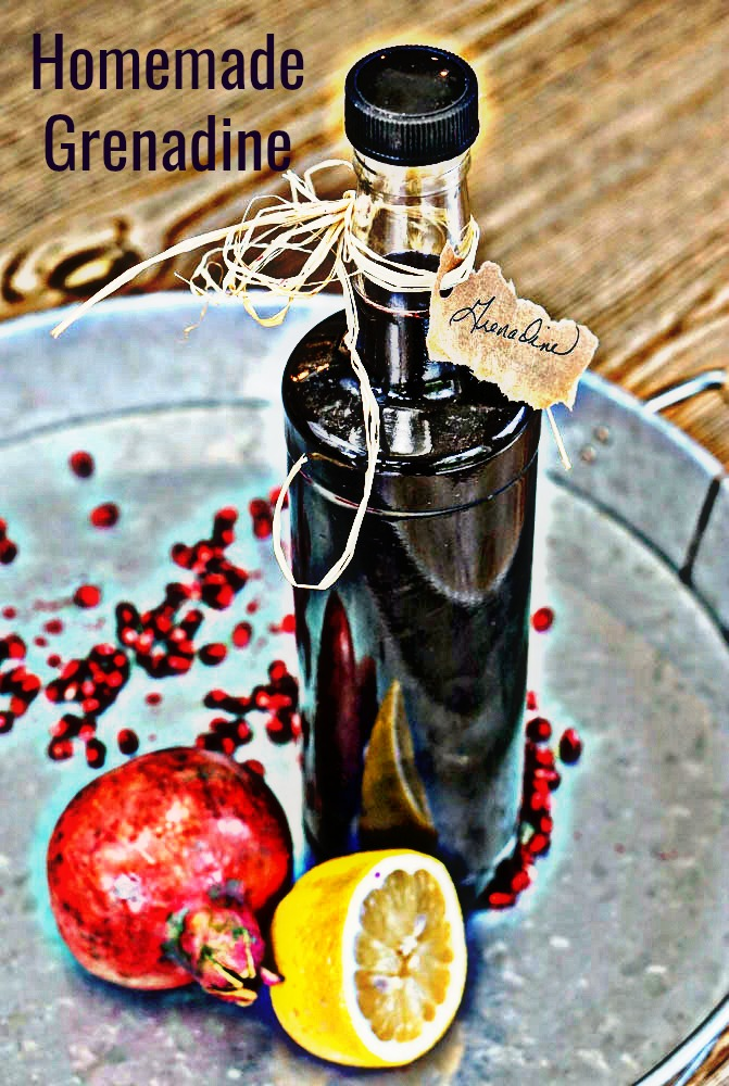 Homemade Grenadine is shockingly easy to make with pomegranate juice, water and sugar