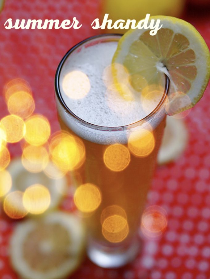 A perfect summer shandy is made with freshly squeezed sparkling lemonade and a tasty lager~By Wet Whistle Drinks by Darla Bentley