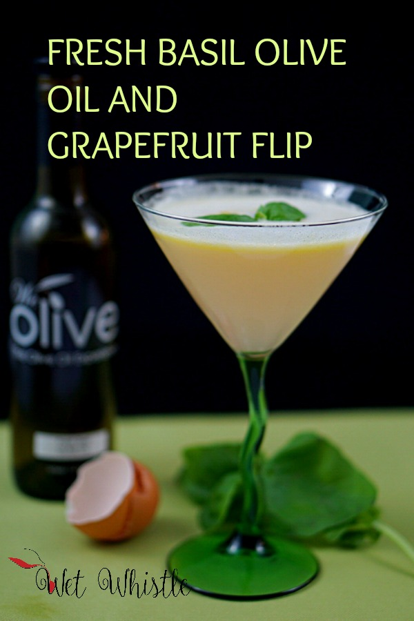 Fresh Basil Olive Oil is added to this cocktail to give it a distinct, herbaceous, lively, and rich flavor. Paired with grapefruit juice, an egg white, and gin makes this Flip light, airy, and unforgettable!~Wet Whistle Drinks by Darla Bentley
