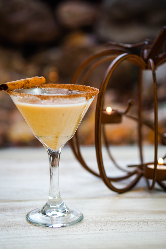The Pumpkin Pie Martini tastes like the holidays! It is sweet, creamy, and full of wintery spices.~By Wet Whistle Drinks by Darla Bentley