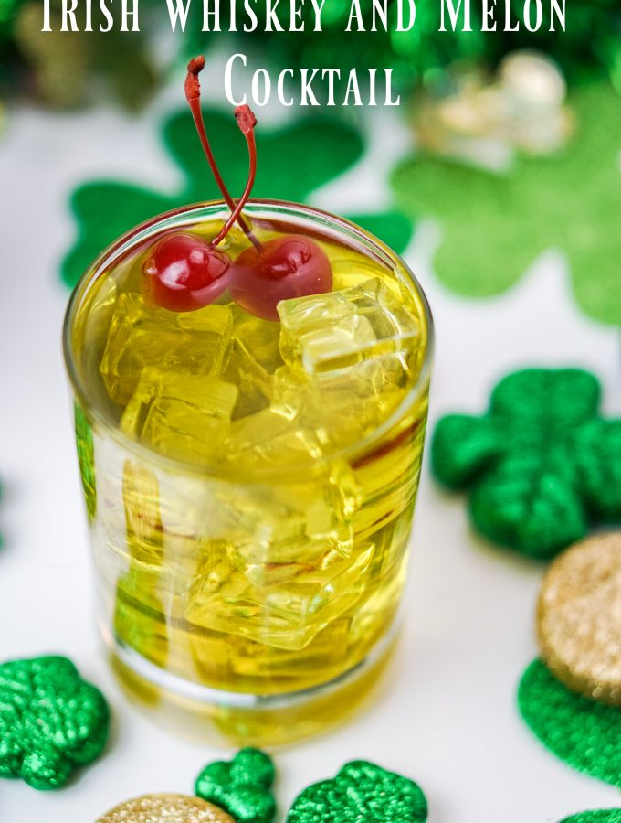 This Irish Whiskey and Melon cocktail will give you the Luck o' the Irish any time of the year! It is whiskey forward with undertones of sweet melon~Wet Whistle Drinks by Darla Bentley